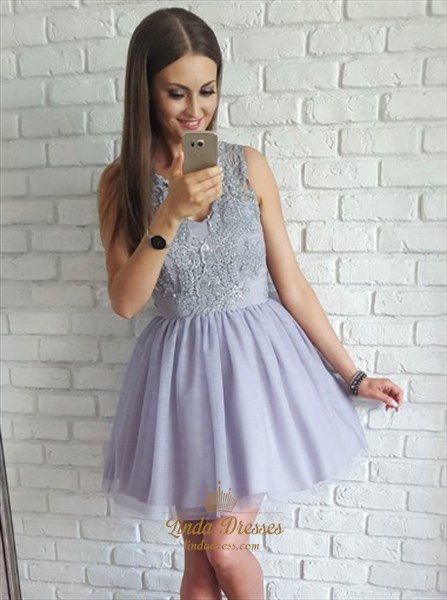 Show details for Lilac Sleeveless V-Neck Short A-Line Homecoming Dress With Lace Bodice