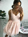 Simple Peach Short Sleeveless V-Neck A-Line Lace Homecoming Dress