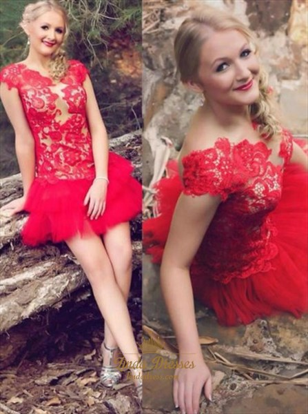 Red Cap Sleeve Lace Bodice Dropped Waist Short Tulle Homecoming Dress