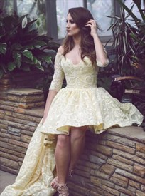 A-Line V-Neck Half Sleeve High Low Homecoming Dress With Long Train