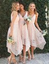 Show details for Blush Pink Sleeveless V-Neck A-Line Tea Length Lace Bridesmaid Dress