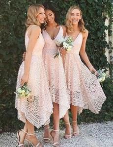 Blush Pink Sleeveless V-Neck A-Line Tea Length Lace Bridesmaid Dress