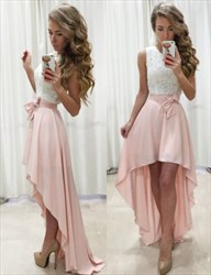 Sleeveless A-Line Lace Bodice High-Low Chiffon Skirt Homecoming Dress