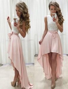 Sleeveless A-Line Lace Bodice High-Low Chiffon Skirt Homecoming Dress
