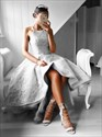 Show details for Elegant Grey Sleeveless A-Line High-Low Lace Evening Dress With Train