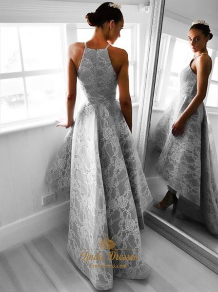 Elegant Grey Sleeveless A-Line High-Low Lace Evening Dress With Train
