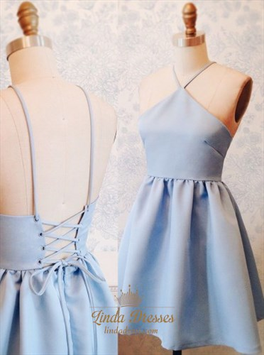 Light Blue Spaghetti Strap A-Line Open Back Short Homecoming Dress