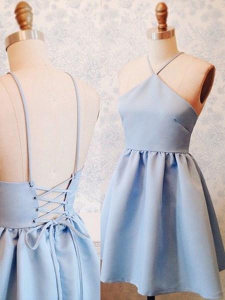 Light Blue Spaghetti Strap A-Line Open Back Short Homecoming Dress