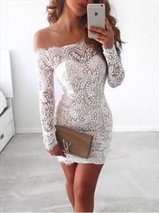 Elegant Off-The-Shoulder Long Sleeve Short Sheath Lace Cocktail Dress