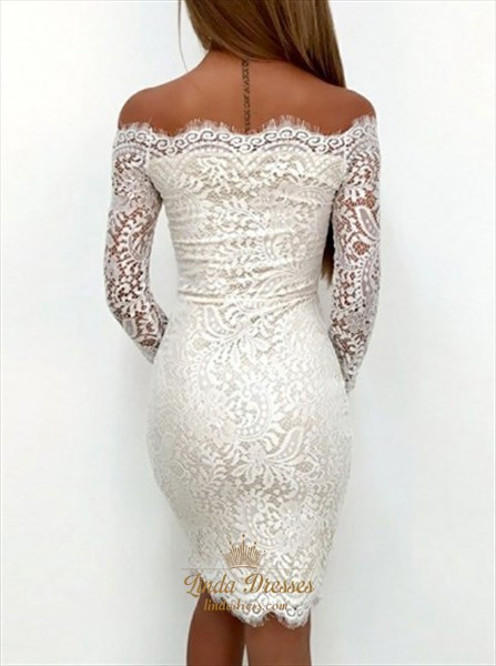 Elegant Off-The-Shoulder Long Sleeve Short Sheath Lace Cocktail Dress