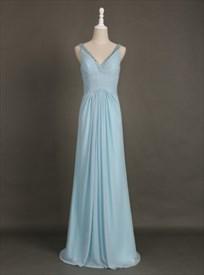 Light Blue Sleeveless Beaded V-Neck Floor-Length Chiffon Maxi Dress