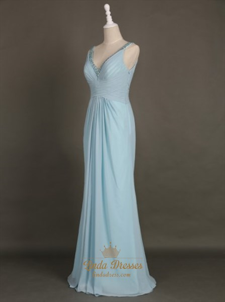 Light Blue Sleeveless Beaded V-Neck Floor-Length Chiffon Maxi Dress