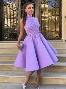 High-Neck Sleeveless Floral Applique A-Line Tea Length Cocktail Dress