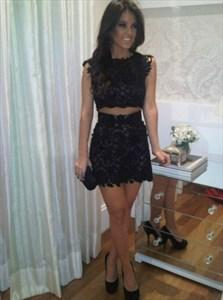 Two-Piece Cap Sleeve Bodycon Lace Little Black Dress/Cocktail Dress