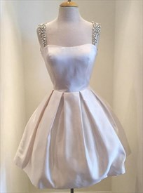 Ivory Sweetheart Neck A-Line Short Homecoming Dress With Beaded Strap