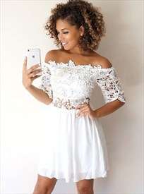 White A-Line Off-The-Shoulder Half Sleeve Lace Bodice Homecoming Dress