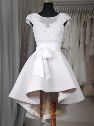 A-Line Cap Sleeve Lace Top Short High Low Homecoming Dress With Belt