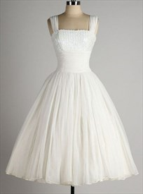 White Sleeveless Square Neckline A-Line Knee Length Homecoming Dress