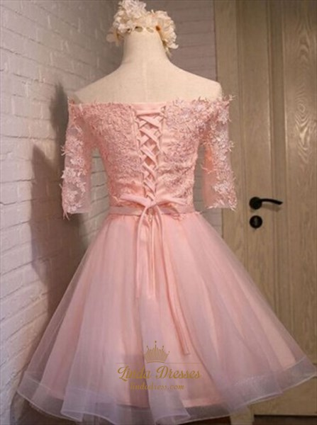 Blush Pink Off-The-Shoulder A-Line Lace Bodice Short Homecoming Dress