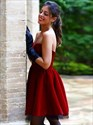 Show details for Burgundy Short A-Line Strapless Sweetheart Neckline Homecoming Dress