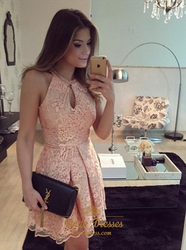 Peach Sleeveless Lace A-Line Short Cocktail Dress With Keyhole Front