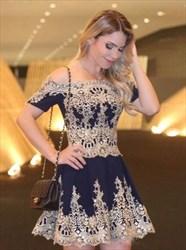 Off Shoulder Short Sleeve A-Line Cocktail Dress With Lace Embellished