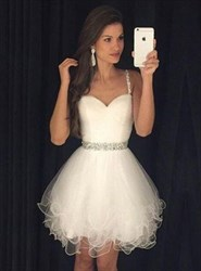 White Short Sleeveless Sweetheart A-Line Beaded Tulle Homecoming Dress
