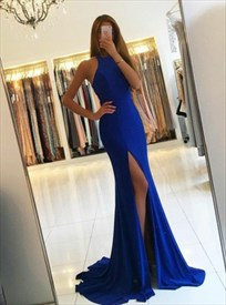 Elegant Royal Blue Sleeveless Cut Out Waist Evening Dress With Split