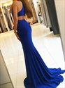 Show details for Elegant Royal Blue Sleeveless Cut Out Waist Evening Dress With Split