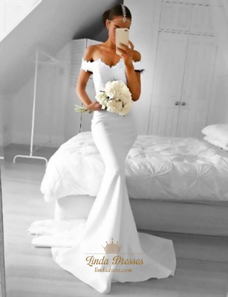 White Off-The-Shoulder Lace Bodice Mermaid Floor-Length Evening Dress