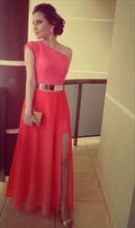 Elegant A-Line One Shoulder Cap Sleeve Lace Chiffon Long Evening Dress