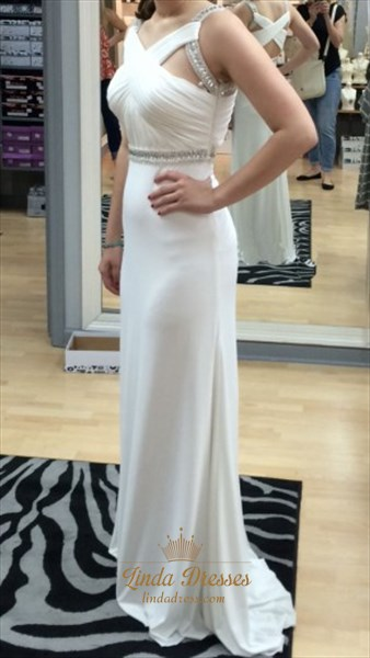 White Sleeveless Floor-Length Evening Dress With Ruched Cross Bodice