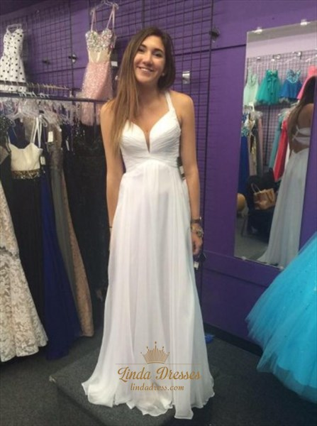 White Sleeveless V-Neck Ruched Bodice A-Line Prom Gown With Cross Back