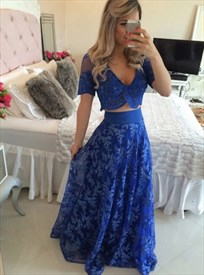 Two-Piece Royal Blue V-Neck Short-Sleeve A-Line Long Lace Formal Dress