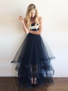 Navy Blue A-Line Strapless Empire Waist Tulle Skirt Long Prom Dress