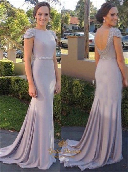 Trumpet/Mermaid Beaded Cap Sleeve Open Back Floor Length Prom Dress