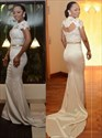 Show details for Illusion Floor-Length Mermaid Cap Sleeve Lace Bodice Evening Dress