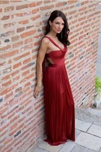 Sleeveless Sweetheart Cut Out Waist Chiffon Evening Dress With Straps
