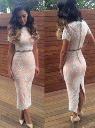 Elegant Two-Piece Short-Sleeve Lace Sheath Evening Dress With Slit
