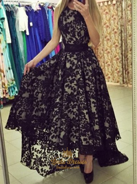 Black Sleeveless A-Line High-Low Lace Formal Dress With Closed Back