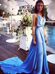 Elegant Plunging V-Neck A-Line Sleeveless Chiffon Prom Gown With Train