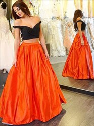 Two-Piece Off-The-Shoulder V-Neck A-Line Two Tone Ball Gown Prom Dress
