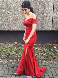 Trumpet/Mermaid Burgundy Off The Shoulder Prom Dress With Side Split