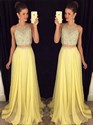 Show details for Yellow Illusion Beaded Bodice Two-Piece Sleeveless A-Line Prom Dress