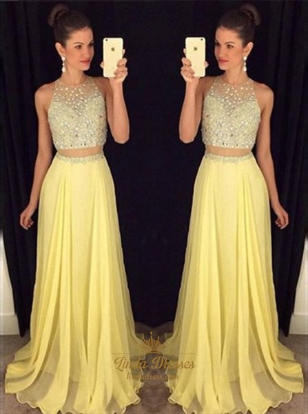 Yellow Illusion Beaded Bodice Two-Piece Sleeveless A-Line Prom Dress