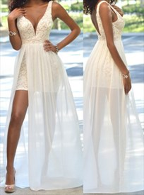 White Deep V Neck Sleeveless Backless Chiffon Overlay Lace Prom Gown