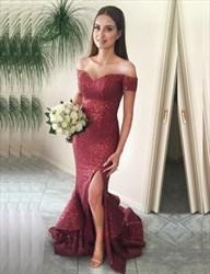 Elegant Sequin Ruffled Mermaid Off Shoulder Prom Dress With Side Split