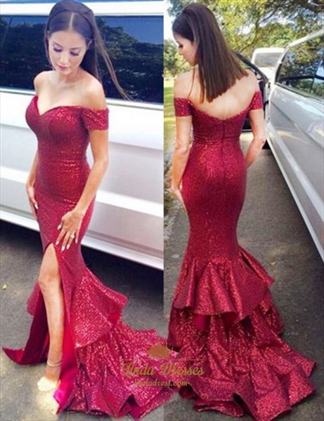 Elegant Sequin Ruffled Mermaid Off Shoulder Prom Dress With Side Split