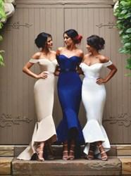 Elegant Off Shoulder High Low Mermaid Bridesmaid Dress With Open Back