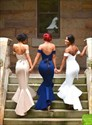 Show details for Elegant Off Shoulder High Low Mermaid Bridesmaid Dress With Open Back